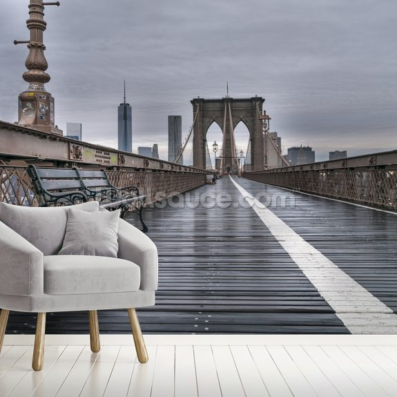 Brooklyn Bridge Pedestrian view wall mural room setting