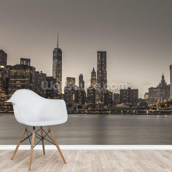 Moody Manhattan Skyline wall mural room setting