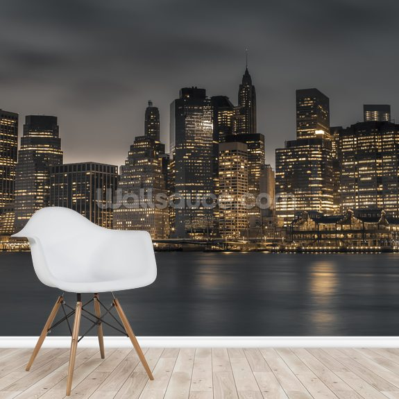 Moody Lower Manhattan wallpaper mural room setting