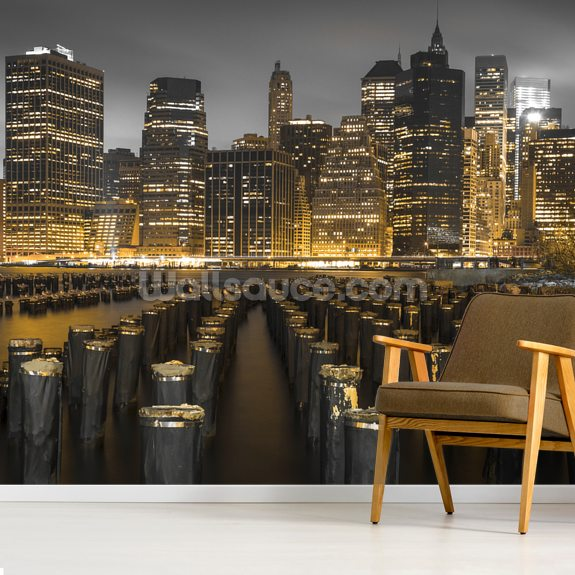 Manhattan Lights at Night mural wallpaper room setting