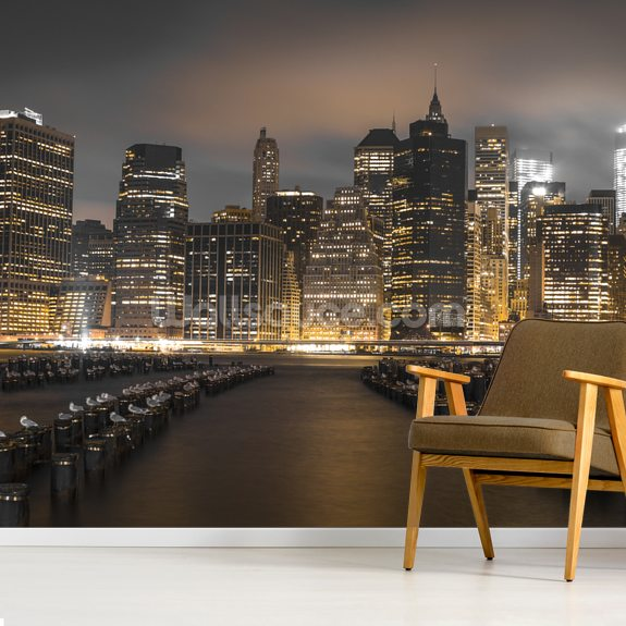 Manhattan Lights at Night wall mural room setting