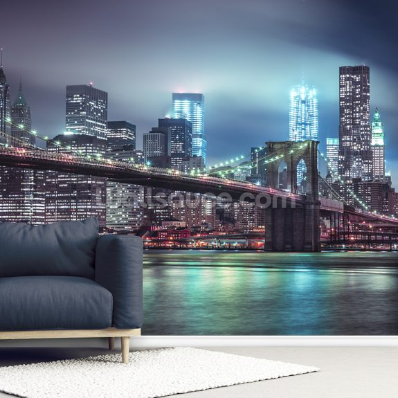 Bright Blue Brooklyn Bridge mural wallpaper room setting
