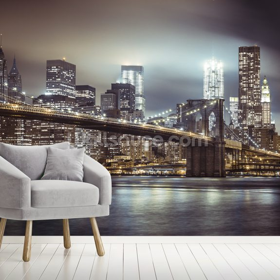 Brooklyn Bridge in the Evening wall mural room setting