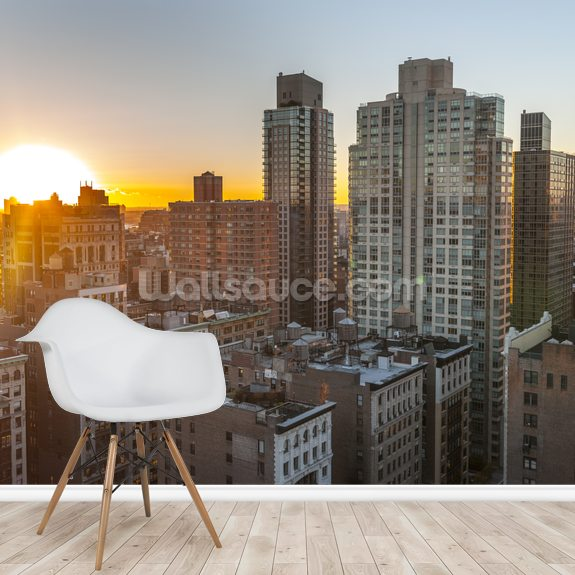 New York Sunset mural wallpaper room setting