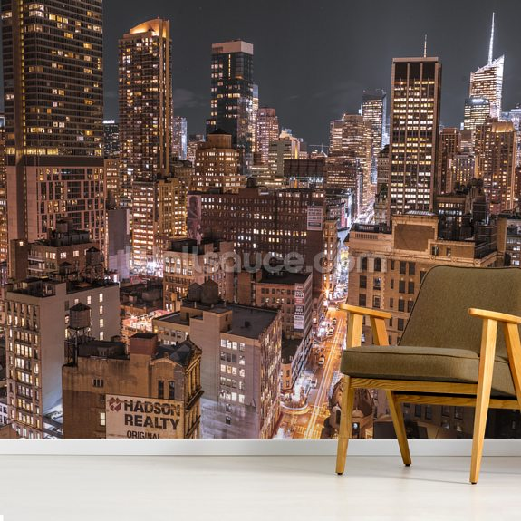 Lower Manhattan Lights wallpaper mural room setting