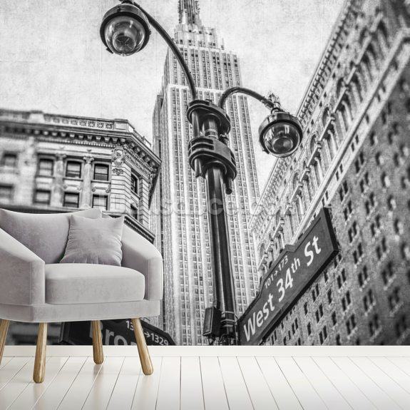 Empire State Building and Lamp Post wallpaper mural room setting