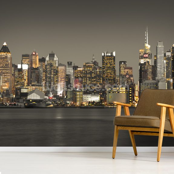 New York Skyscraper Lights mural wallpaper room setting