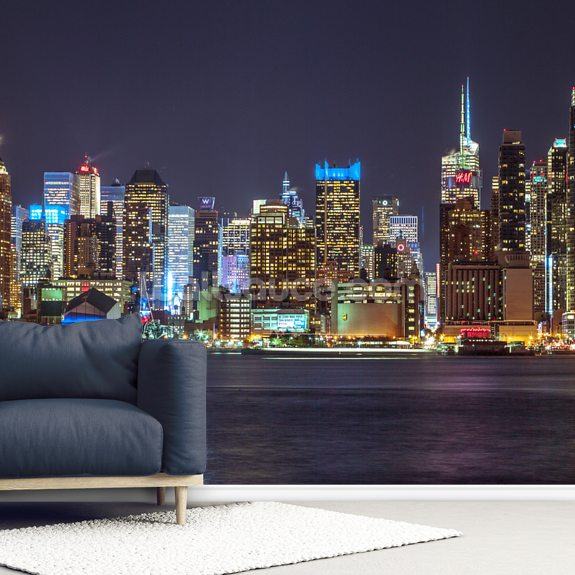 New York Bright Lights wallpaper mural room setting