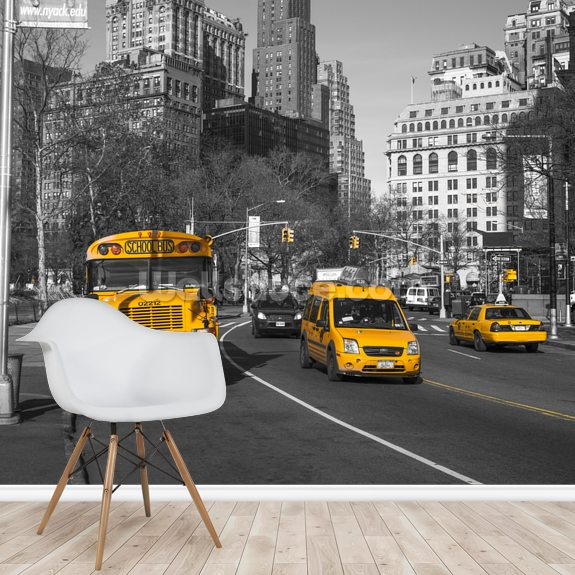 New York School Bus and Taxis wall mural room setting