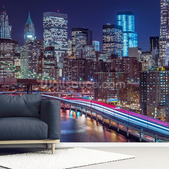Strip lights on streets of Manhattan wallpaper mural room setting