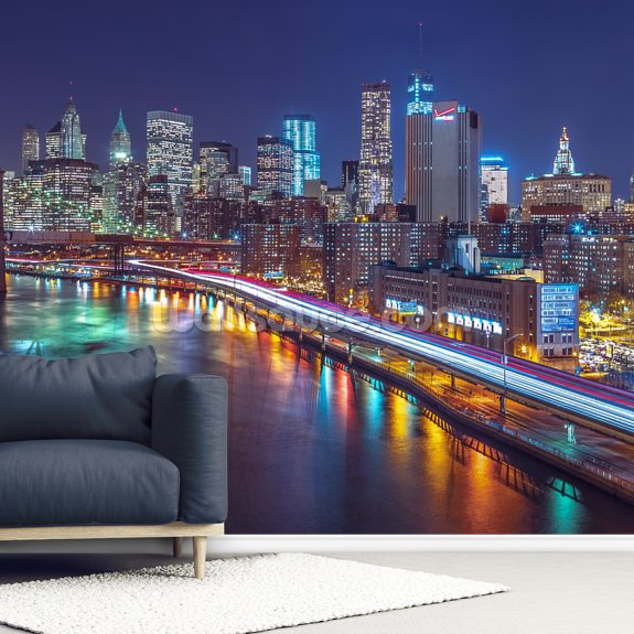 Bright Lights Manhattan by East River mural wallpaper room setting