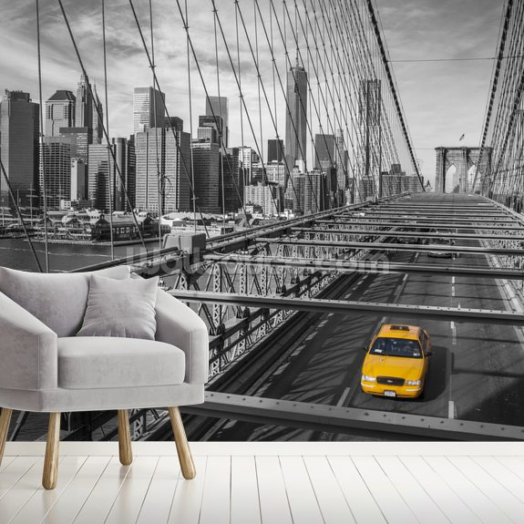 Daylight on Brooklyn Bridge Colour Splash mural wallpaper room setting
