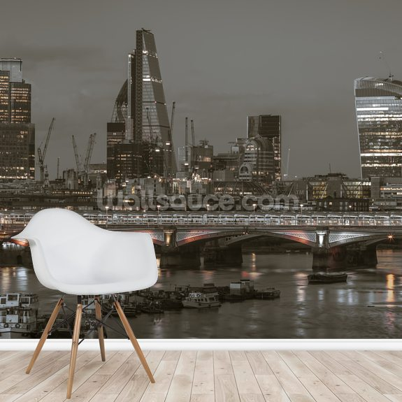 River Thames with London Skyline wall mural room setting