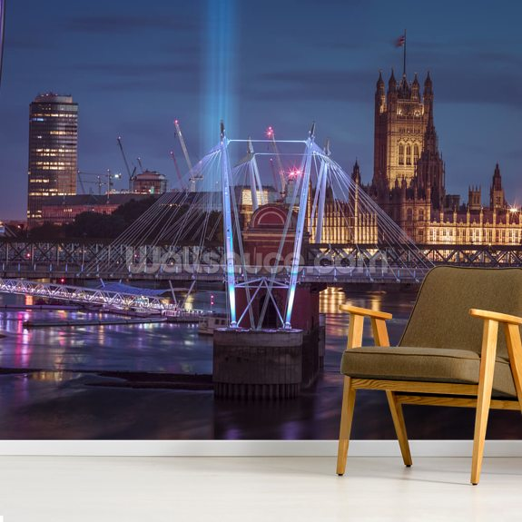 Bright Lights at the London Eye wall mural room setting