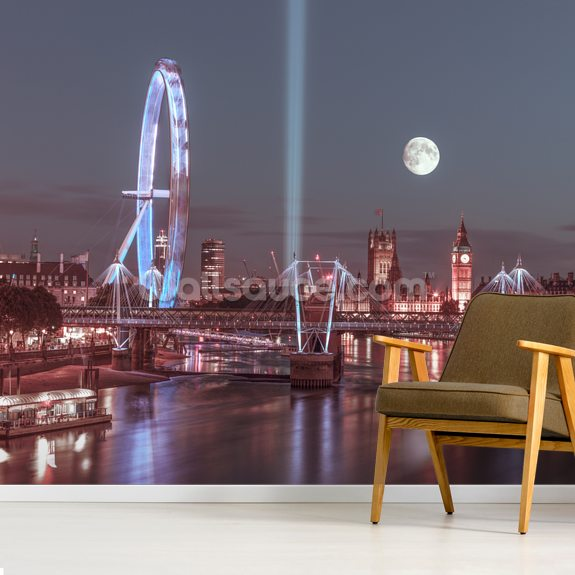 Moonlit Jubilee Bridge wallpaper mural room setting