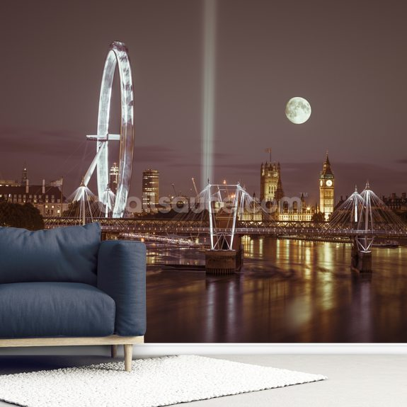 Westminster and Jubilee Bridge Moonlight mural wallpaper room setting