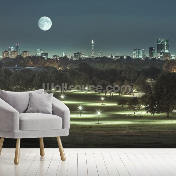Primrose Hill Moonlit Landscape wall mural room setting