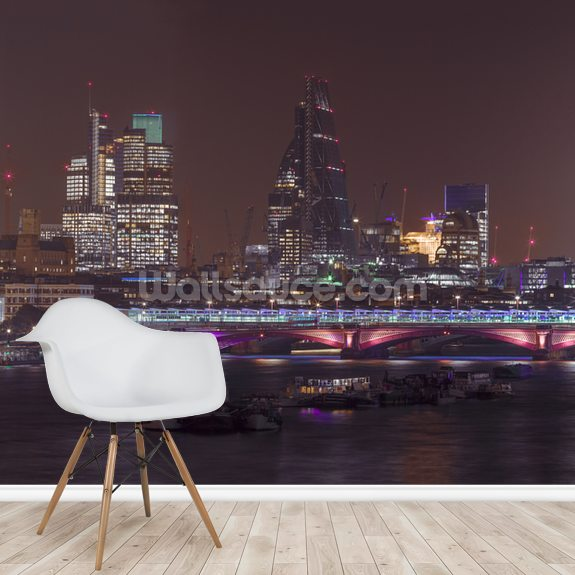 Panoramic view of London Skyline mural wallpaper room setting