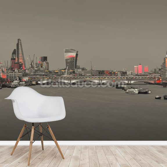 Red Colour Splash Panoramic wall mural room setting