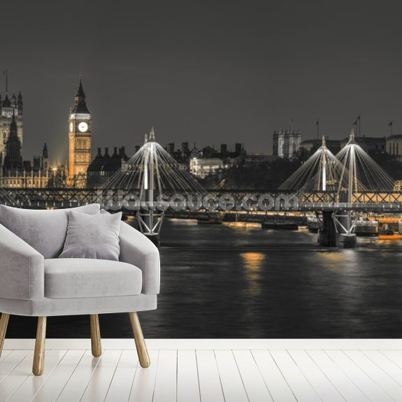 London Panoramic Colour Splash mural wallpaper room setting