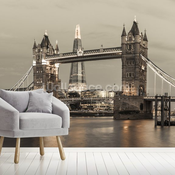 Tower Bridge over River Thames wallpaper mural room setting