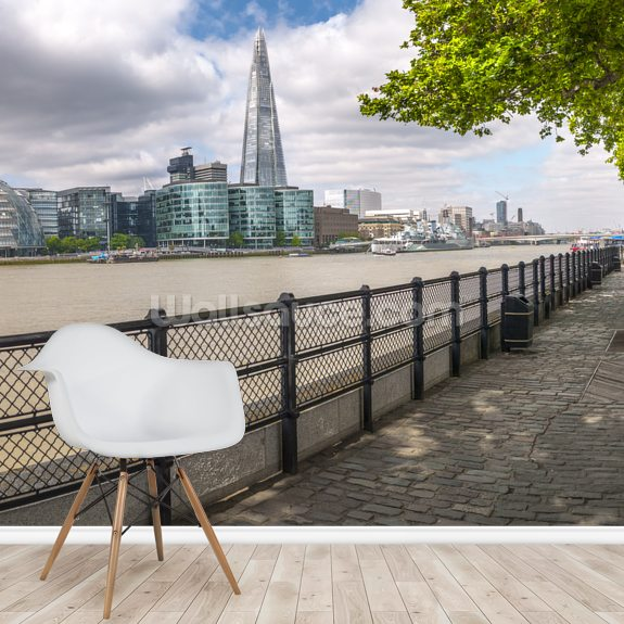 Thames Promenade with The Shard wall mural room setting
