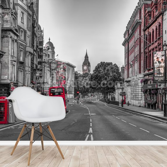 Streets of London Colour Splash wallpaper mural room setting