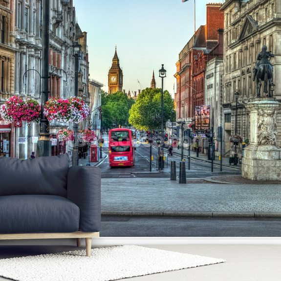 Streets of London city with Double Decker Bus wallpaper mural room setting