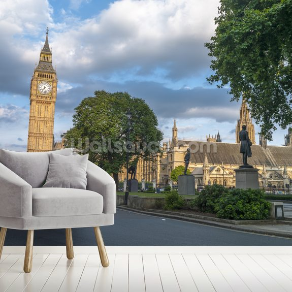 View of Big Ben from streets of London wallpaper mural room setting