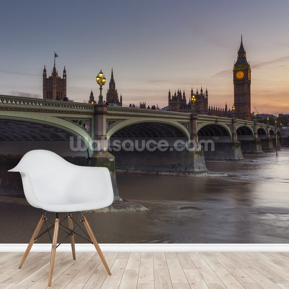 Westminster bridge and Big Ben wall mural room setting