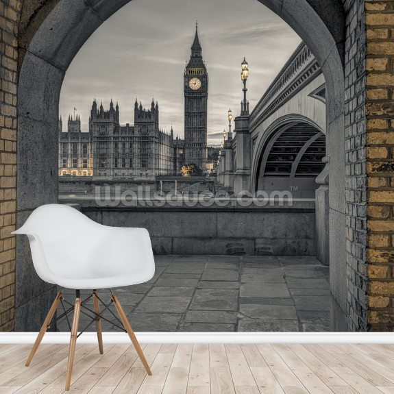 View of Westminster Abby and Big Ben from Thames Promenade wallpaper mural room setting