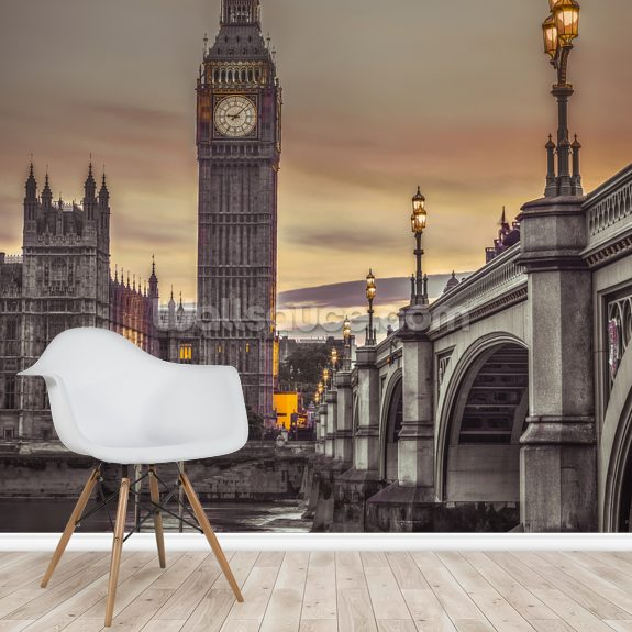Westminster Bridge and Big Ben from the River mural wallpaper room setting