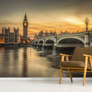 Westminster Bridge and Big Ben Sunset Wall Mural