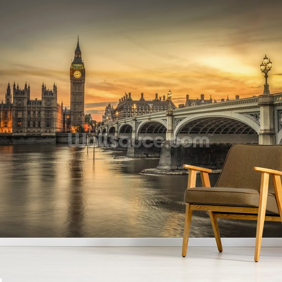 Westminster Bridge and Big Ben Sunset wall mural room setting