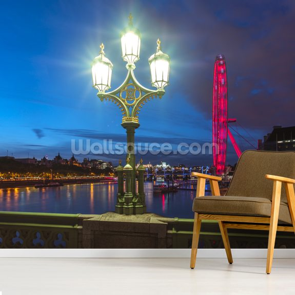 Street lamp with London Eye London wallpaper mural room setting