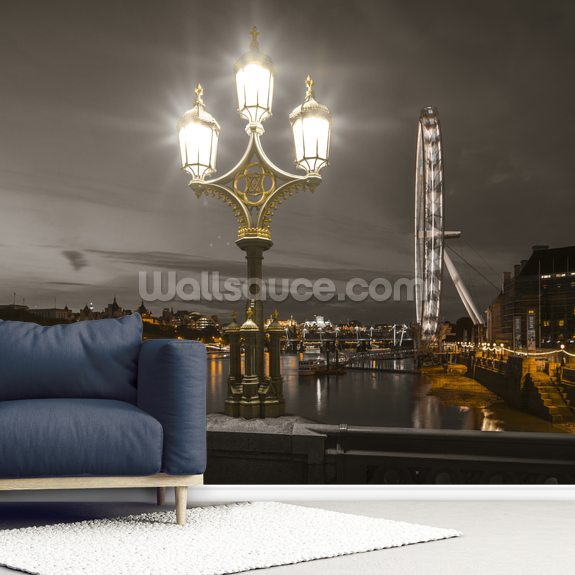 Street lamp with London Eye at Night mural wallpaper room setting