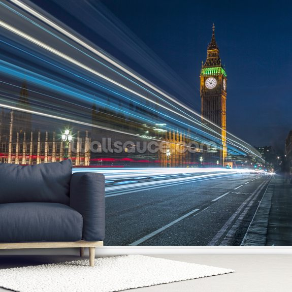Westminster Abby and Big Ben with Strip Lights wall mural room setting
