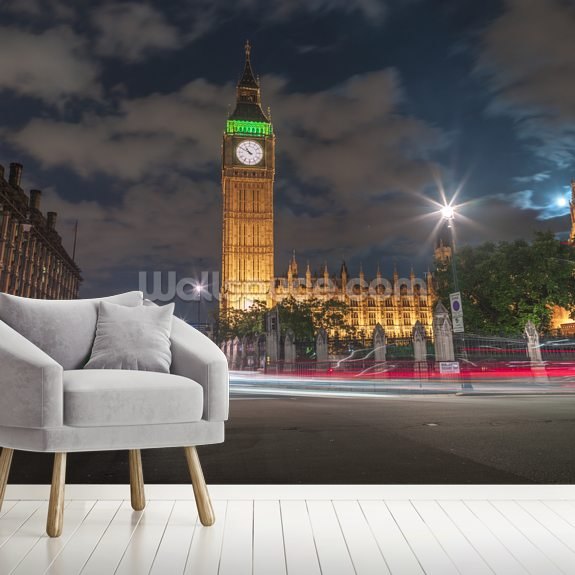 Westminster Abby and Big Ben Night Lights wallpaper mural room setting