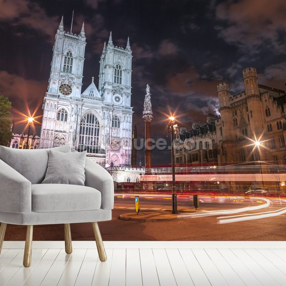 Evening view of Westminster Abby mural wallpaper room setting