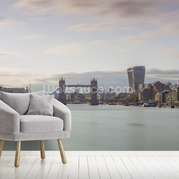London Skyline Panoramic and The Tower Bridge wall mural room setting