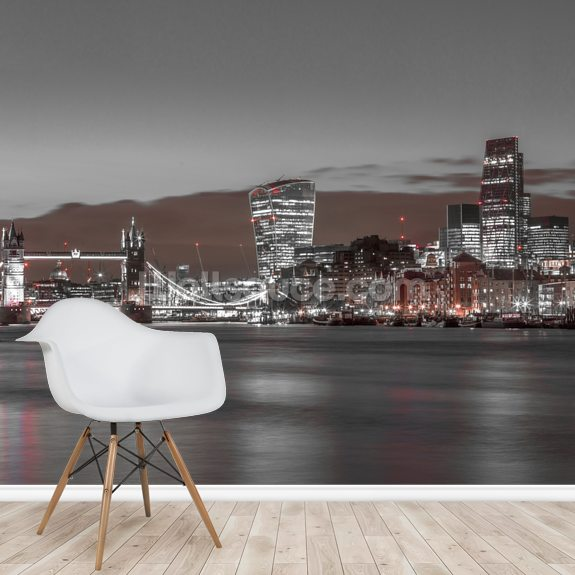 London Skyline Red Colour Splash wall mural room setting