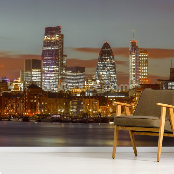 London Skyline with the Gherkin Building at Night mural wallpaper room setting