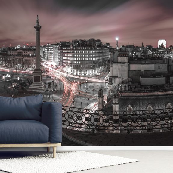 Trafalgar Square Red Colour Splash wallpaper mural room setting