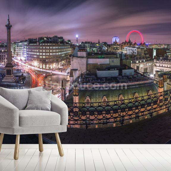 Panoramic View of London City in Evening mural wallpaper room setting