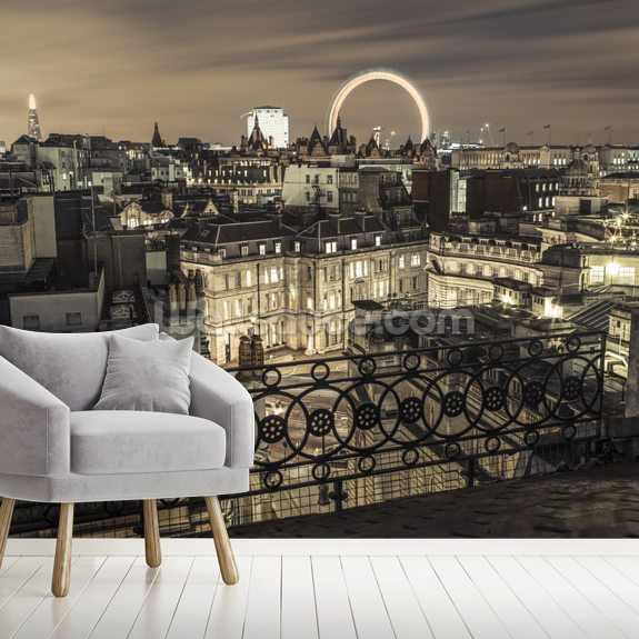 View of London Eye in Evening wall mural room setting