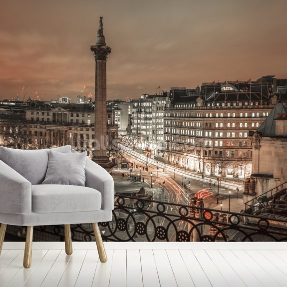Evening view of Trafalgar Square, London wallpaper mural room setting