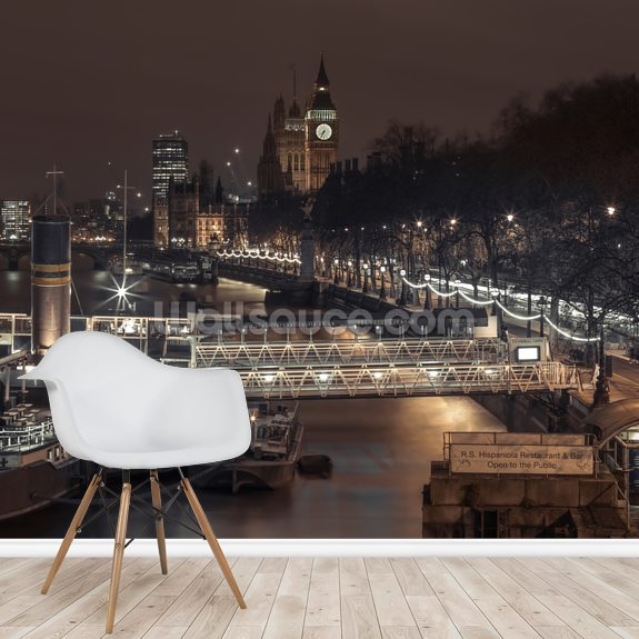 Evening view of London City at Night wallpaper mural room setting