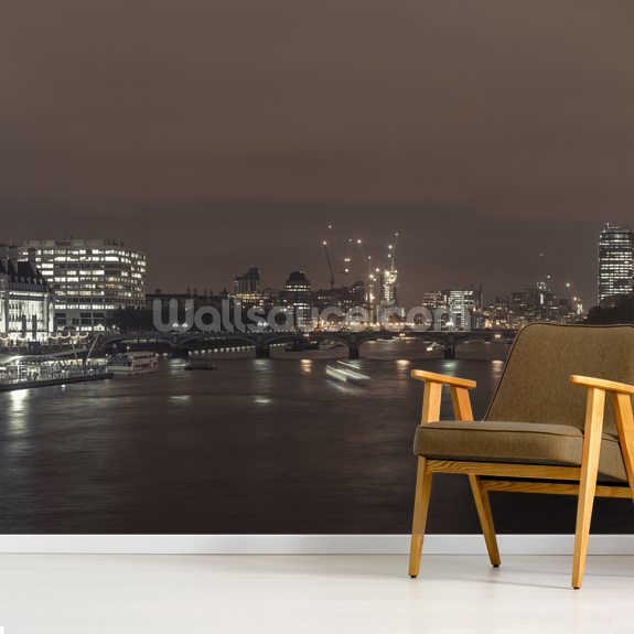 London Cityscape with Millennium Wheel mural wallpaper room setting