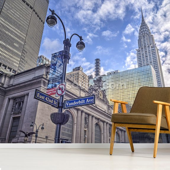 New York Cityscape with Chrysler Building wall mural room setting