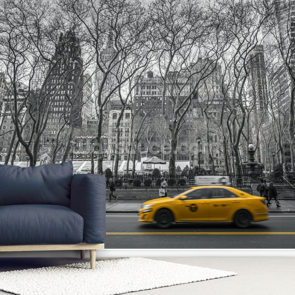 New York taxi Colour Splash mural wallpaper room setting
